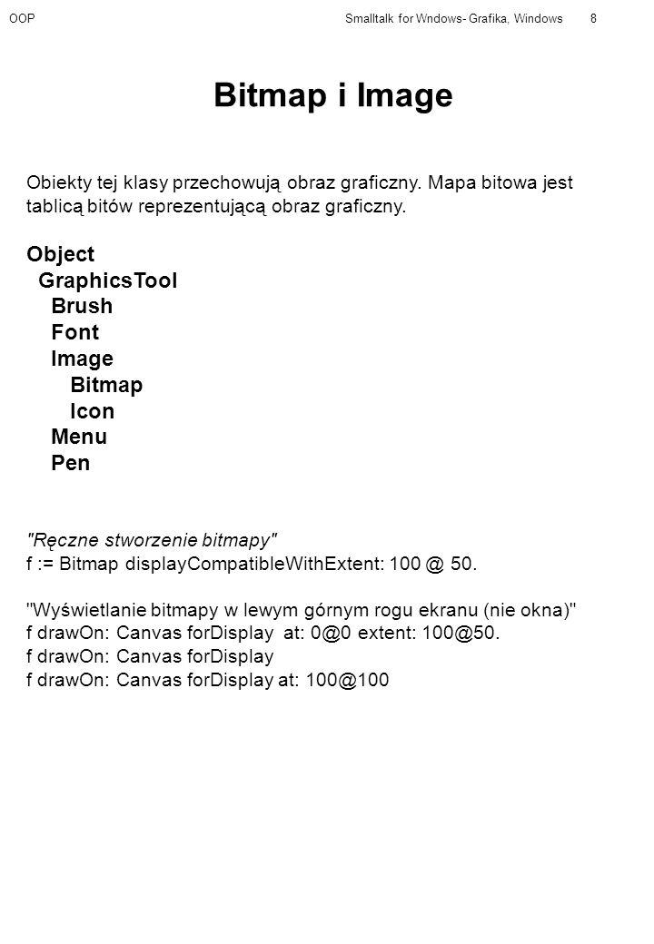 OOPSmalltalk for Wndows- Grafika, Windows8 Obiekty tej klasy przechowują obraz graficzny. Mapa bitowa jest tablicą bitów reprezentującą obraz graficzn