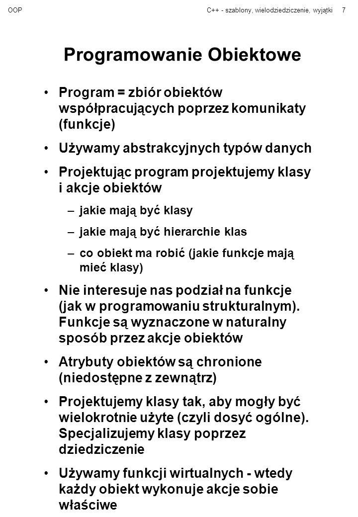 OOPC++ - szablony, wielodziedziczenie, wyjątki7 Programowanie Obiektowe Program = zbiór obiektów współpracujących poprzez komunikaty (funkcje) Używamy