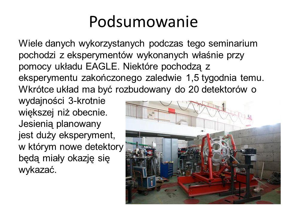 Podsumowanie Wiele danych wykorzystanych podczas tego seminarium pochodzi z eksperymentów wykonanych właśnie przy pomocy układu EAGLE. Niektóre pochod