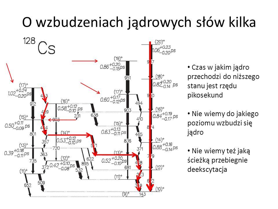 O wzbudzeniach jądrowych słów kilka Czas w jakim jądro przechodzi do niższego stanu jest rzędu pikosekund Nie wiemy do jakiego poziomu wzbudzi się jądro Nie wiemy też jaką ścieżką przebiegnie deekscytacja