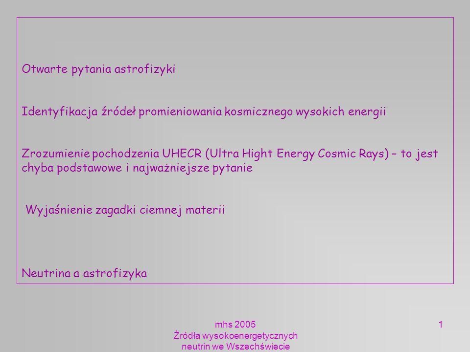 mhs 2005 Żródła wysokoenergetycznych neutrin we Wszechświecie 2 ASTROFIZYKA NEURTRIN Porównanie informacji niesionej przez promieniowanie kosmiczne – protony, ciężkie jądra fotony neutrina Efekt GZK Mechanizm produkcji neutrin SNR AGN GRB Przypomnienie Strumienie / energie neutrin Posumowanie