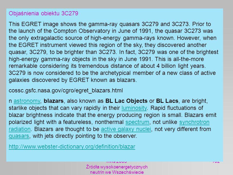 mhs 2005 Żródła wysokoenergetycznych neutrin we Wszechświecie 102 Objaśnienia obiektu 3C279 This EGRET image shows the gamma-ray quasars 3C279 and 3C2