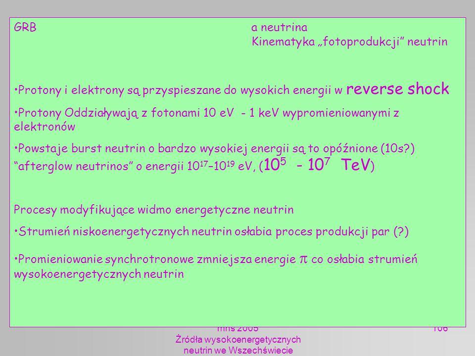mhs 2005 Żródła wysokoenergetycznych neutrin we Wszechświecie 106 GRB a neutrina Kinematyka fotoprodukcji neutrin Protony i elektrony są przyspieszane
