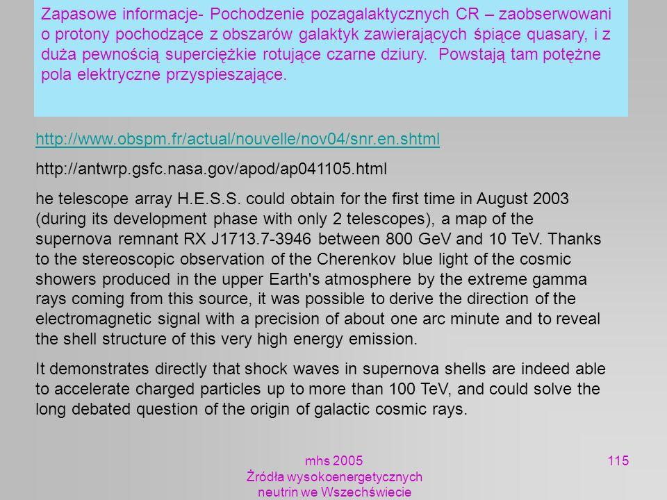 mhs 2005 Żródła wysokoenergetycznych neutrin we Wszechświecie 115 http://www.obspm.fr/actual/nouvelle/nov04/snr.en.shtml http://antwrp.gsfc.nasa.gov/a