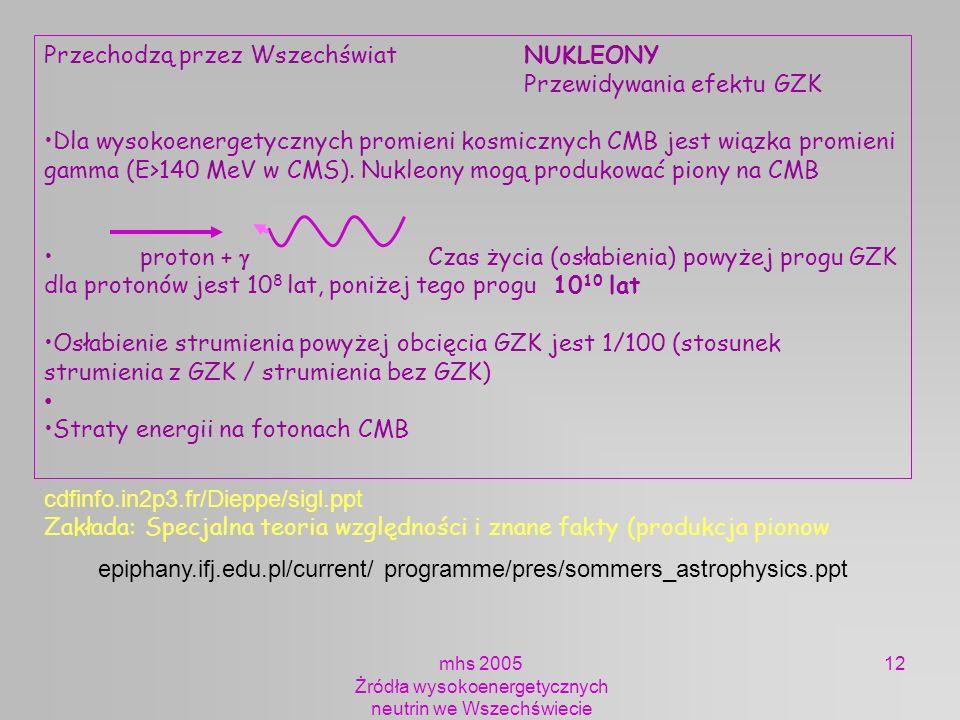 mhs 2005 Żródła wysokoenergetycznych neutrin we Wszechświecie 12 Przechodzą przez Wszechświat NUKLEONY Przewidywania efektu GZK Dla wysokoenergetyczny