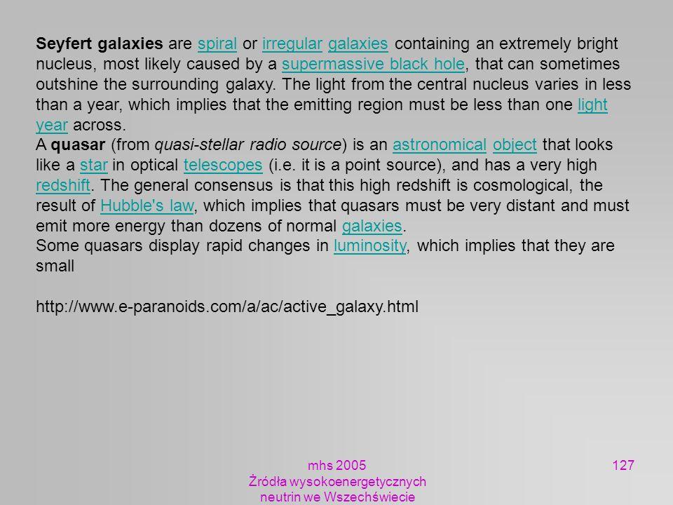 mhs 2005 Żródła wysokoenergetycznych neutrin we Wszechświecie 127 Seyfert galaxies are spiral or irregular galaxies containing an extremely bright nuc