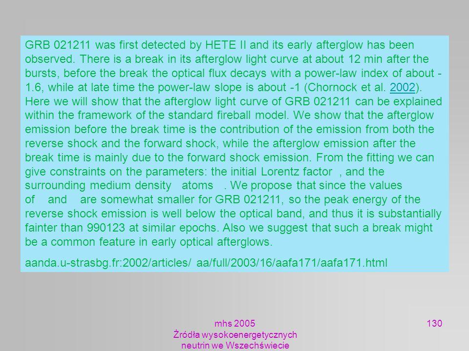 mhs 2005 Żródła wysokoenergetycznych neutrin we Wszechświecie 130 GRB 021211 was first detected by HETE II and its early afterglow has been observed.