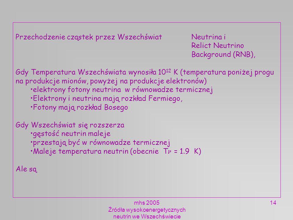 mhs 2005 Żródła wysokoenergetycznych neutrin we Wszechświecie 14 Przechodzenie cząstek przez Wszechświat Neutrina i Relict Neutrino Background (RNB),