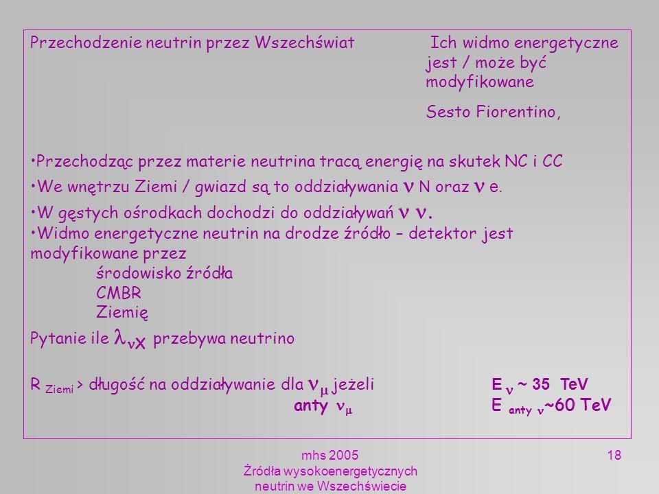 mhs 2005 Żródła wysokoenergetycznych neutrin we Wszechświecie 18 Przechodzenie neutrin przez Wszechświat Ich widmo energetyczne jest / może być modyfi