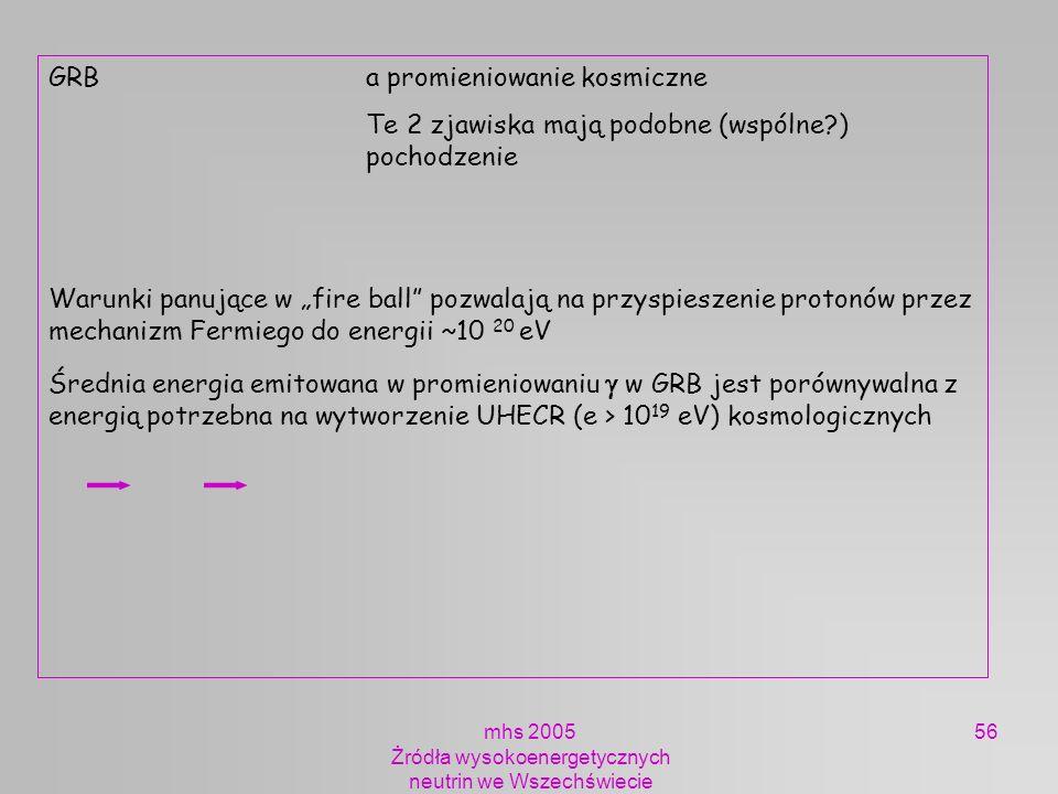 mhs 2005 Żródła wysokoenergetycznych neutrin we Wszechświecie 56 GRB a promieniowanie kosmiczne Te 2 zjawiska mają podobne (wspólne?) pochodzenie Waru