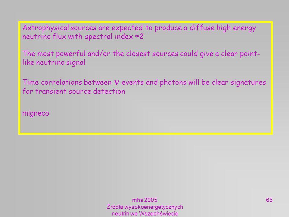 mhs 2005 Żródła wysokoenergetycznych neutrin we Wszechświecie 65 Astrophysical sources are expected to produce a diffuse high energy neutrino flux wit
