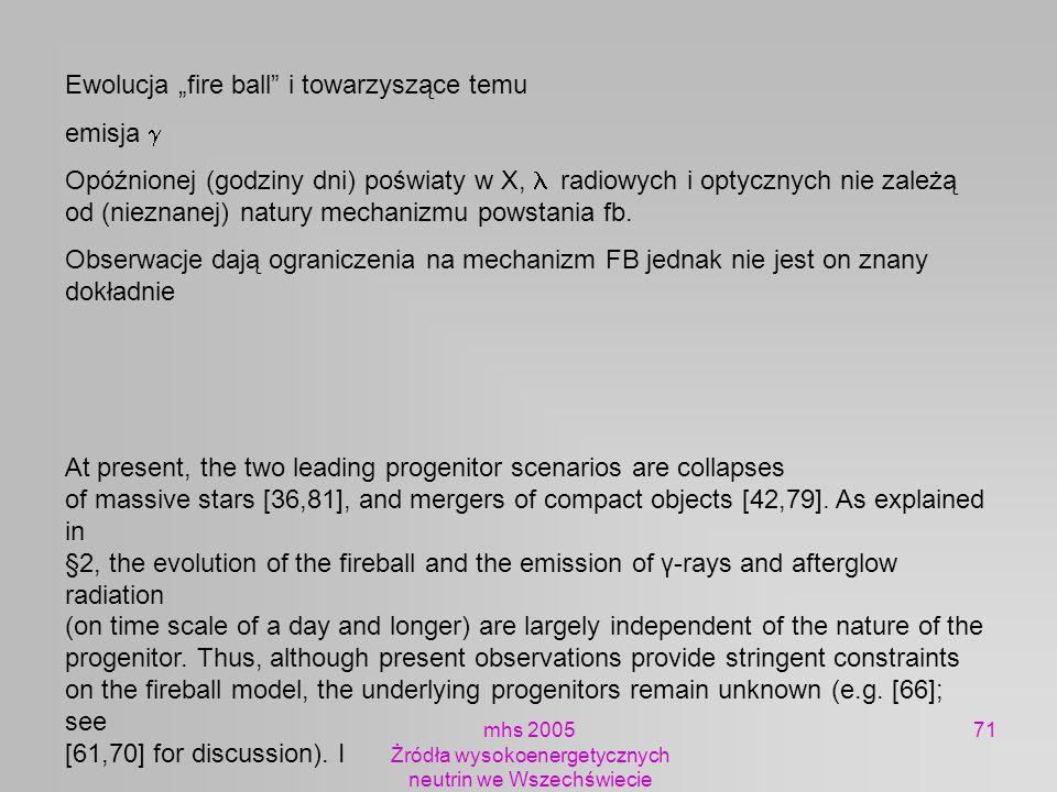 mhs 2005 Żródła wysokoenergetycznych neutrin we Wszechświecie 71 Ewolucja fire ball i towarzyszące temu emisja Opóźnionej (godziny dni) poświaty w X,
