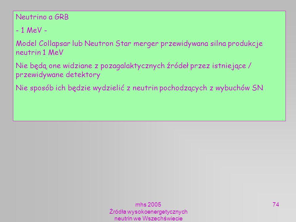 mhs 2005 Żródła wysokoenergetycznych neutrin we Wszechświecie 74 Neutrino a GRB - 1 MeV - Model Collapsar lub Neutron Star merger przewidywana silna p