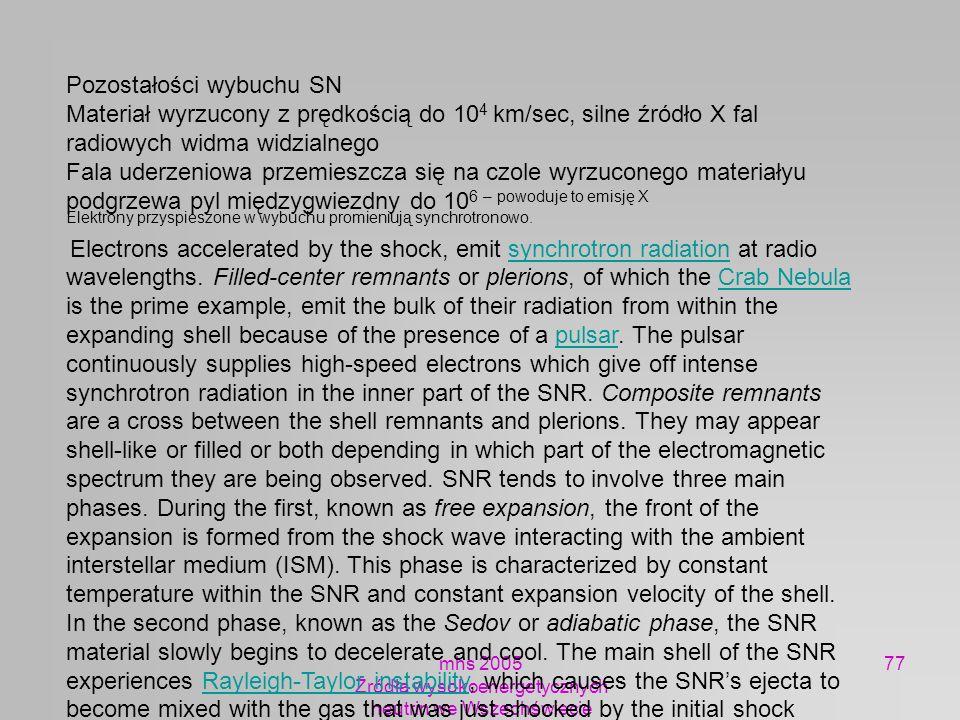 mhs 2005 Żródła wysokoenergetycznych neutrin we Wszechświecie 77 Pozostałości wybuchu SN Materiał wyrzucony z prędkością do 10 4 km/sec, silne źródło