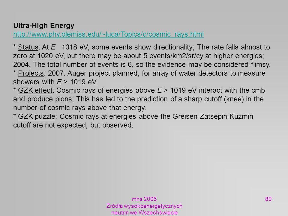 mhs 2005 Żródła wysokoenergetycznych neutrin we Wszechświecie 80 Ultra-High Energy http://www.phy.olemiss.edu/~luca/Topics/c/cosmic_rays.html http://w