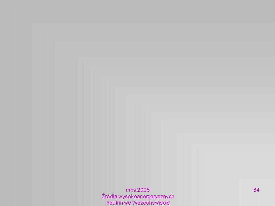 mhs 2005 Żródła wysokoenergetycznych neutrin we Wszechświecie 84