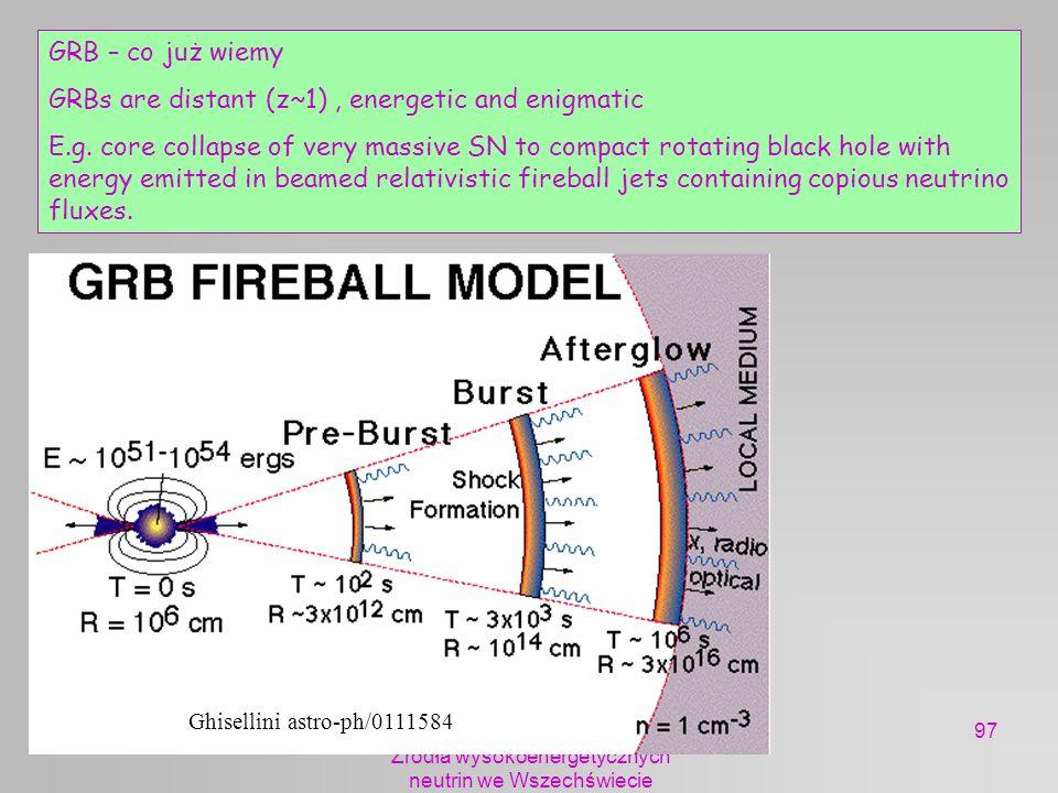 mhs 2005 Żródła wysokoenergetycznych neutrin we Wszechświecie 97 GRB – co już wiemy GRBs are distant (z~1), energetic and enigmatic E.g. core collapse