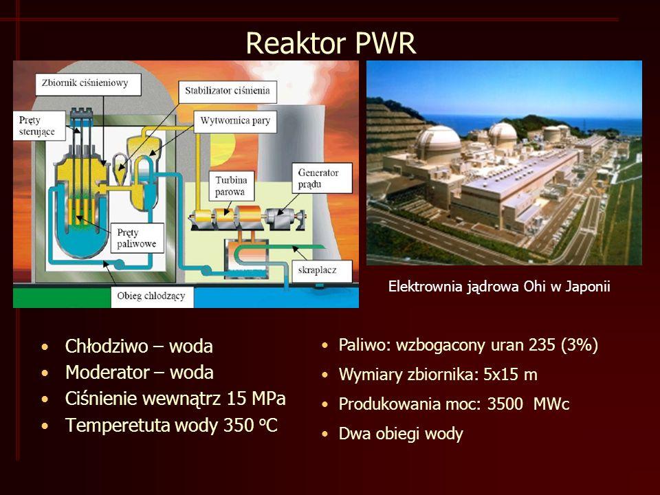 Reaktor PWR Chłodziwo – woda Moderator – woda Ciśnienie wewnątrz 15 MPa Temperetuta wody 350 o C Elektrownia jądrowa Ohi w Japonii Paliwo: wzbogacony uran 235 (3%) Wymiary zbiornika: 5x15 m Produkowania moc: 3500 MWc Dwa obiegi wody