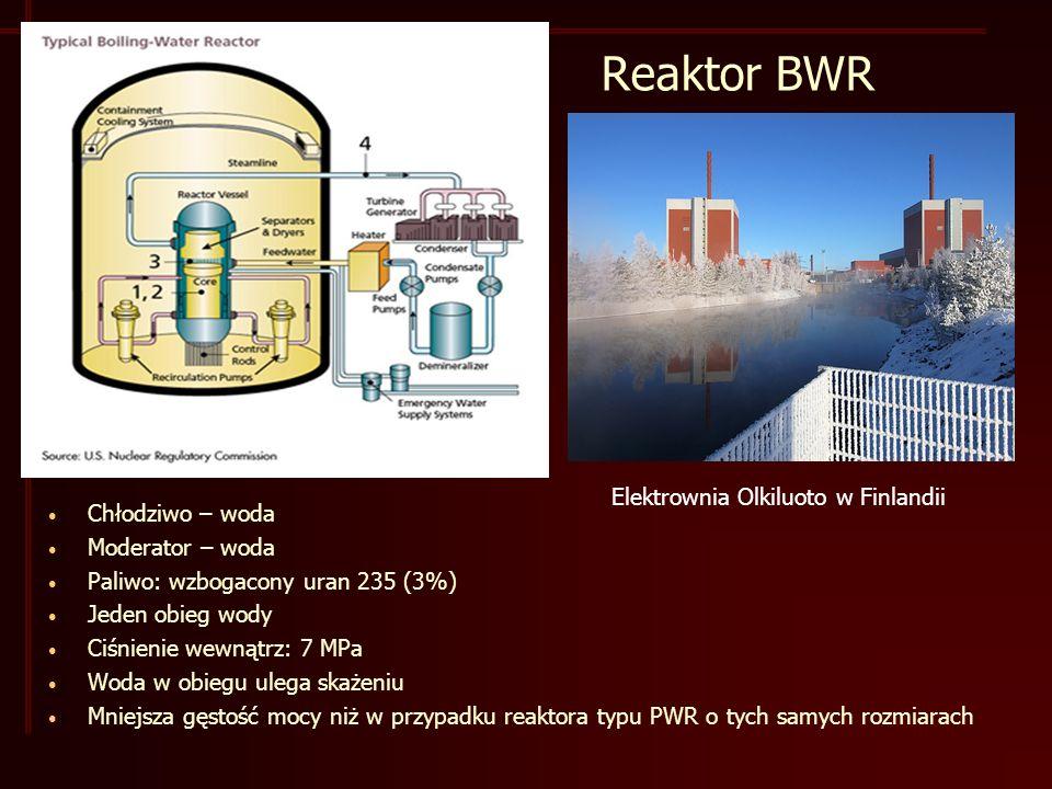 Reaktor BWR Chłodziwo – woda Moderator – woda Paliwo: wzbogacony uran 235 (3%) Jeden obieg wody Ciśnienie wewnątrz: 7 MPa Woda w obiegu ulega skażeniu Mniejsza gęstość mocy niż w przypadku reaktora typu PWR o tych samych rozmiarach Elektrownia Olkiluoto w Finlandii