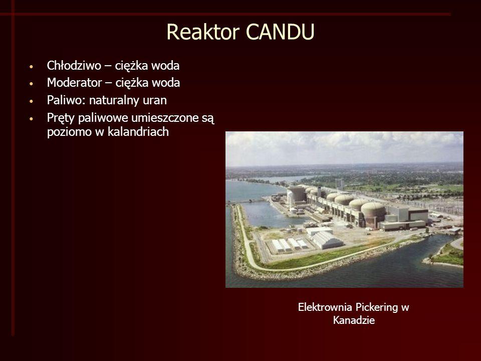 Reaktor CANDU Chłodziwo – ciężka woda Moderator – ciężka woda Paliwo: naturalny uran Pręty paliwowe umieszczone są poziomo w kalandriach Elektrownia Pickering w Kanadzie