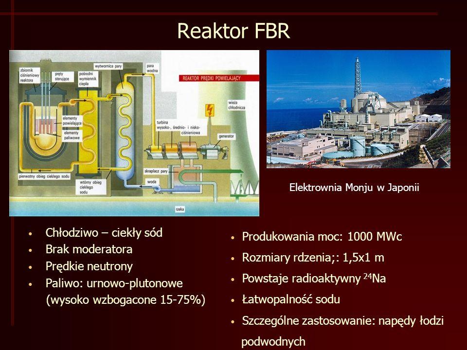 Reaktor FBR Chłodziwo – ciekły sód Brak moderatora Prędkie neutrony Paliwo: urnowo-plutonowe (wysoko wzbogacone 15-75%) Elektrownia Monju w Japonii Produkowania moc: 1000 MWc Rozmiary rdzenia;: 1,5x1 m Powstaje radioaktywny 24 Na Łatwopalność sodu Szczególne zastosowanie: napędy łodzi podwodnych