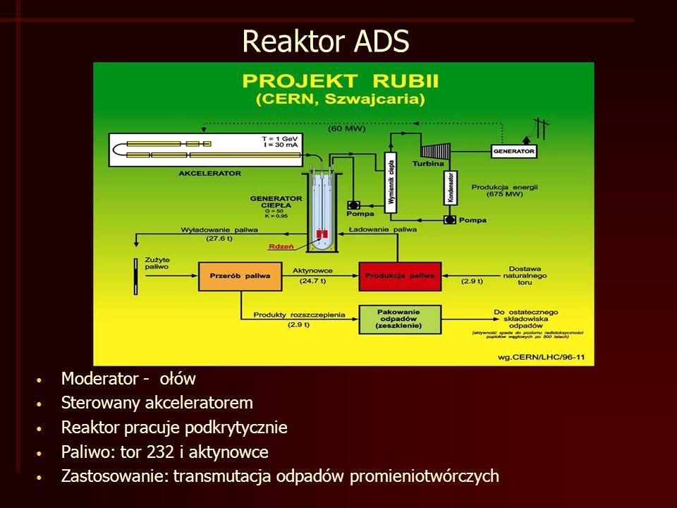 Reaktor ADS Moderator - ołów Sterowany akceleratorem Reaktor pracuje podkrytycznie Paliwo: tor 232 i aktynowce Zastosowanie: transmutacja odpadów promieniotwórczych