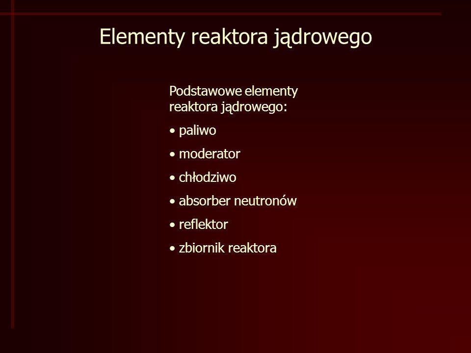 Elementy reaktora jądrowego Podstawowe elementy reaktora jądrowego: paliwo moderator chłodziwo absorber neutronów reflektor zbiornik reaktora