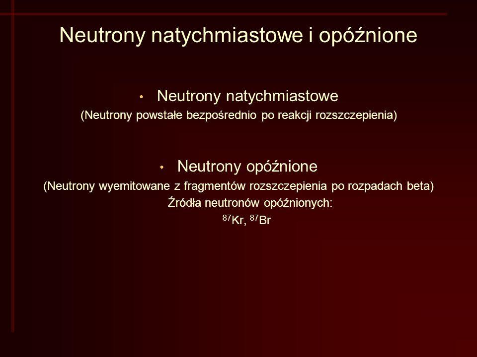 Neutrony natychmiastowe i opóźnione Neutrony natychmiastowe (Neutrony powstałe bezpośrednio po reakcji rozszczepienia) Neutrony opóźnione (Neutrony wyemitowane z fragmentów rozszczepienia po rozpadach beta) Źródła neutronów opóźnionych: 87 Kr, 87 Br