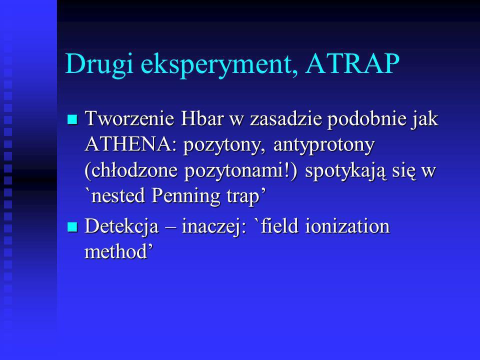 Drugi eksperyment, ATRAP Tworzenie Hbar w zasadzie podobnie jak ATHENA: pozytony, antyprotony (chłodzone pozytonami!) spotykają się w `nested Penning