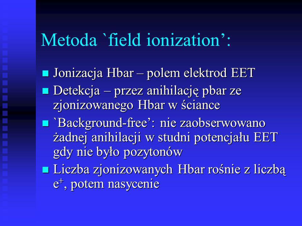 Metoda `field ionization: Jonizacja Hbar – polem elektrod EET Jonizacja Hbar – polem elektrod EET Detekcja – przez anihilację pbar ze zjonizowanego Hb