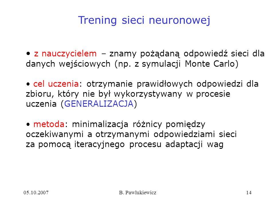 05.10.2007B. Pawlukiewicz14 Trening sieci neuronowej z nauczycielem – znamy pożądaną odpowiedź sieci dla danych wejściowych (np. z symulacji Monte Car