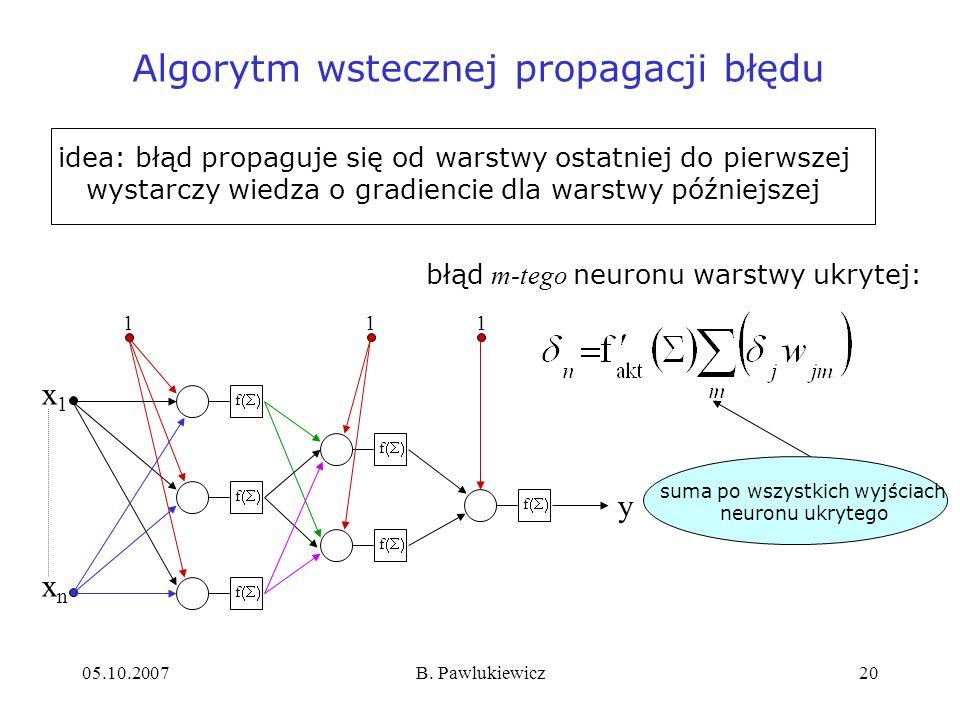 05.10.2007B. Pawlukiewicz20 Algorytm wstecznej propagacji błędu błąd m-tego neuronu warstwy ukrytej: suma po wszystkich wyjściach neuronu ukrytego ide