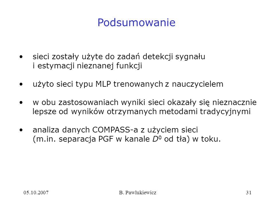 05.10.2007B. Pawlukiewicz31 Podsumowanie sieci zostały użyte do zadań detekcji sygnału i estymacji nieznanej funkcji użyto sieci typu MLP trenowanych