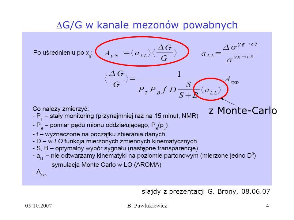 05.10.2007B. Pawlukiewicz4 slajdy z prezentacji G. Brony, 08.06.07 G/G w kanale mezonów powabnych z Monte-Carlo