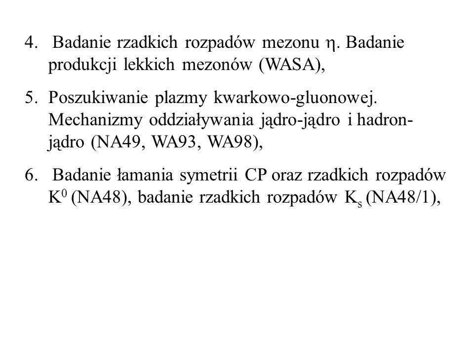 4. Badanie rzadkich rozpadów mezonu. Badanie produkcji lekkich mezonów (WASA), 5.