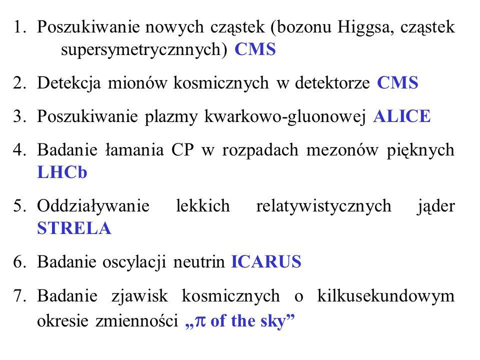 1.Poszukiwanie nowych cząstek (bozonu Higgsa, cząstek supersymetrycznnych) CMS 2.Detekcja mionów kosmicznych w detektorze CMS 3.Poszukiwanie plazmy kwarkowo-gluonowej ALICE 4.Badanie łamania CP w rozpadach mezonów pięknych LHCb 5.Oddziaływanie lekkich relatywistycznych jąder STRELA 6.Badanie oscylacji neutrin ICARUS 7.Badanie zjawisk kosmicznych o kilkusekundowym okresie zmienności of the sky