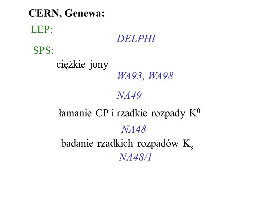 CERN, Genewa: LEP: DELPHI SPS: ciężkie jony WA93, WA98 NA49 łamanie CP i rzadkie rozpady K 0 NA48 badanie rzadkich rozpadów K s NA48/1