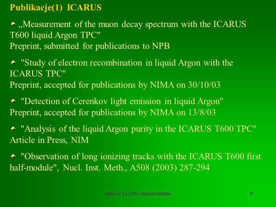 mhs 02 12 2003 sprawozdanie8 Publikacje(1) ICARUS Measurement of the muon decay spectrum with the ICARUS T600 liquid Argon TPC