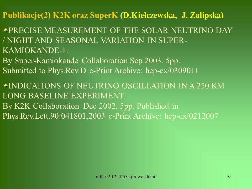 mhs 02 12 2003 sprawozdanie9 Publikacje(2) K2K oraz SuperK (D.Kiełczewska, J. Zalipska) PRECISE MEASUREMENT OF THE SOLAR NEUTRINO DAY / NIGHT AND SEAS