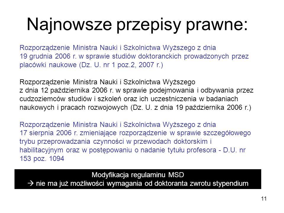 11 Najnowsze przepisy prawne: Rozporządzenie Ministra Nauki i Szkolnictwa Wyższego z dnia 19 grudnia 2006 r. w sprawie studiów doktoranckich prowadzon