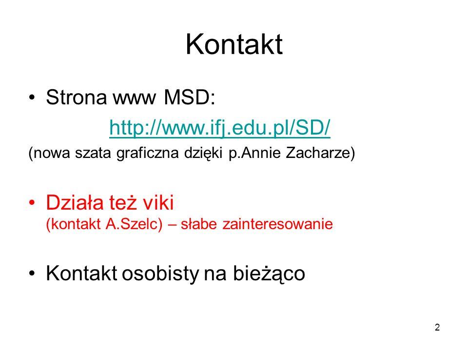 2 Kontakt Strona www MSD: http://www.ifj.edu.pl/SD/ (nowa szata graficzna dzięki p.Annie Zacharze) Działa też viki (kontakt A.Szelc) – słabe zainteres