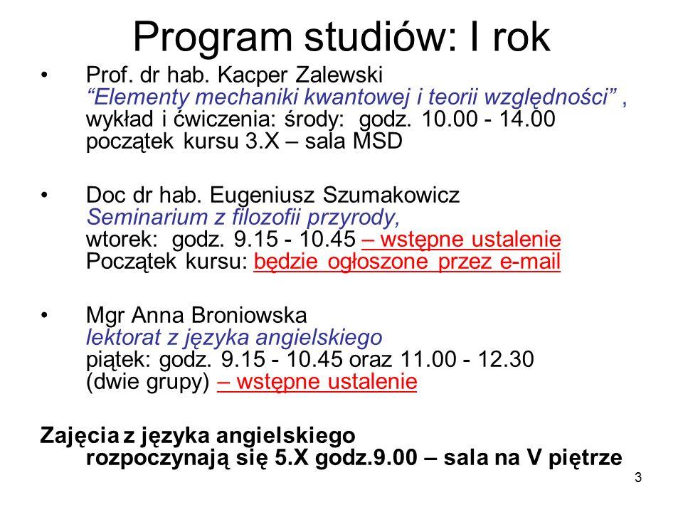 3 Program studiów: I rok Prof. dr hab. Kacper Zalewski Elementy mechaniki kwantowej i teorii względności, wykład i ćwiczenia: środy: godz. 10.00 - 14.