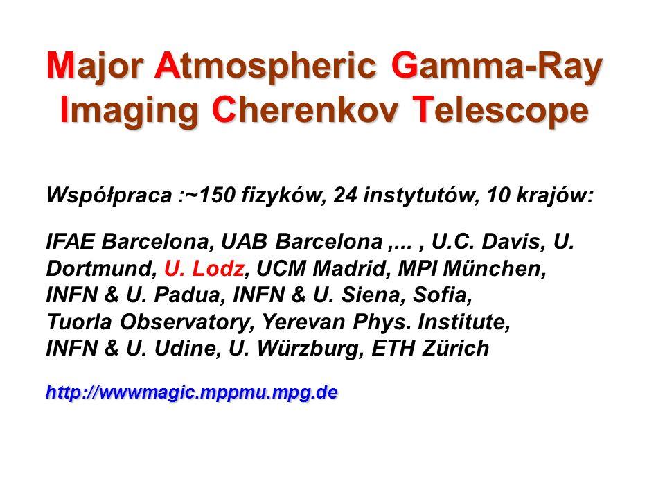 Major Atmospheric Gamma-Ray Imaging Cherenkov Telescope Współpraca :~150 fizyków, 24 instytutów, 10 krajów: IFAE Barcelona, UAB Barcelona,..., U.C. Da