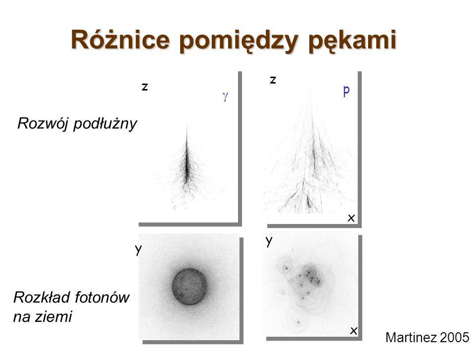 Różnice pomiędzy pękami p x x z y z y Martinez 2005 Rozwój podłużny Rozkład fotonów na ziemi