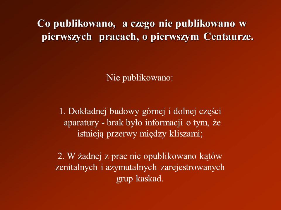 Co publikowano, a czego nie publikowano w pierwszych pracach, o pierwszym Centaurze.