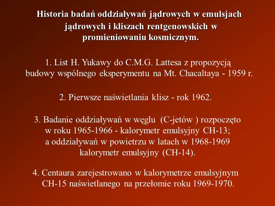 Historia badań oddziaływań jądrowych w emulsjach jądrowych i kliszach rentgenowskich w jądrowych i kliszach rentgenowskich w promieniowaniu kosmicznym.