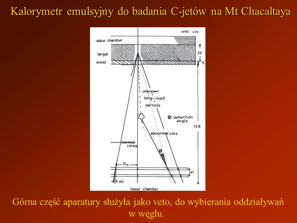 Górna część aparatury służyła jako veto, do wybierania oddziaływań w węglu. Kalorymetr emulsyjny do badania C-jetów na Mt Chacaltaya
