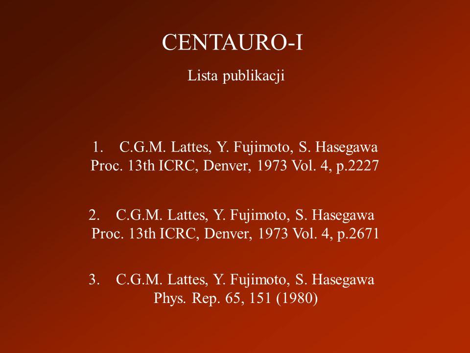 CENTAURO-I Lista publikacji 1.C.G.M. Lattes, Y. Fujimoto, S.