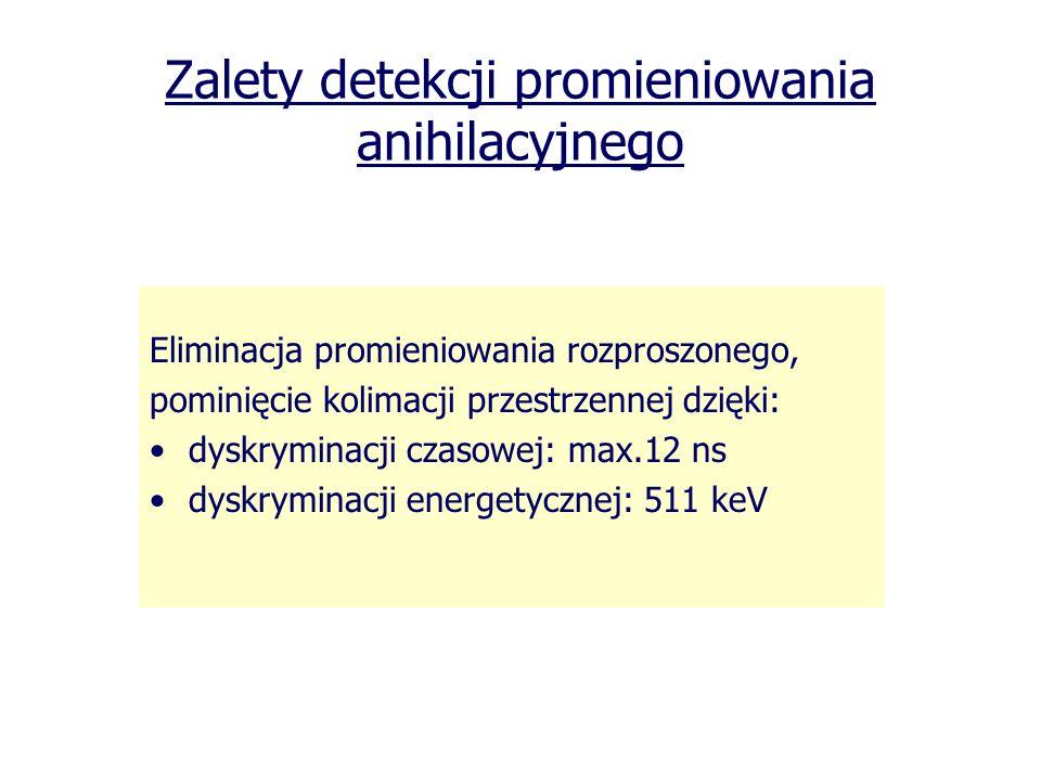 Zalety detekcji promieniowania anihilacyjnego Eliminacja promieniowania rozproszonego, pominięcie kolimacji przestrzennej dzięki: dyskryminacji czasow