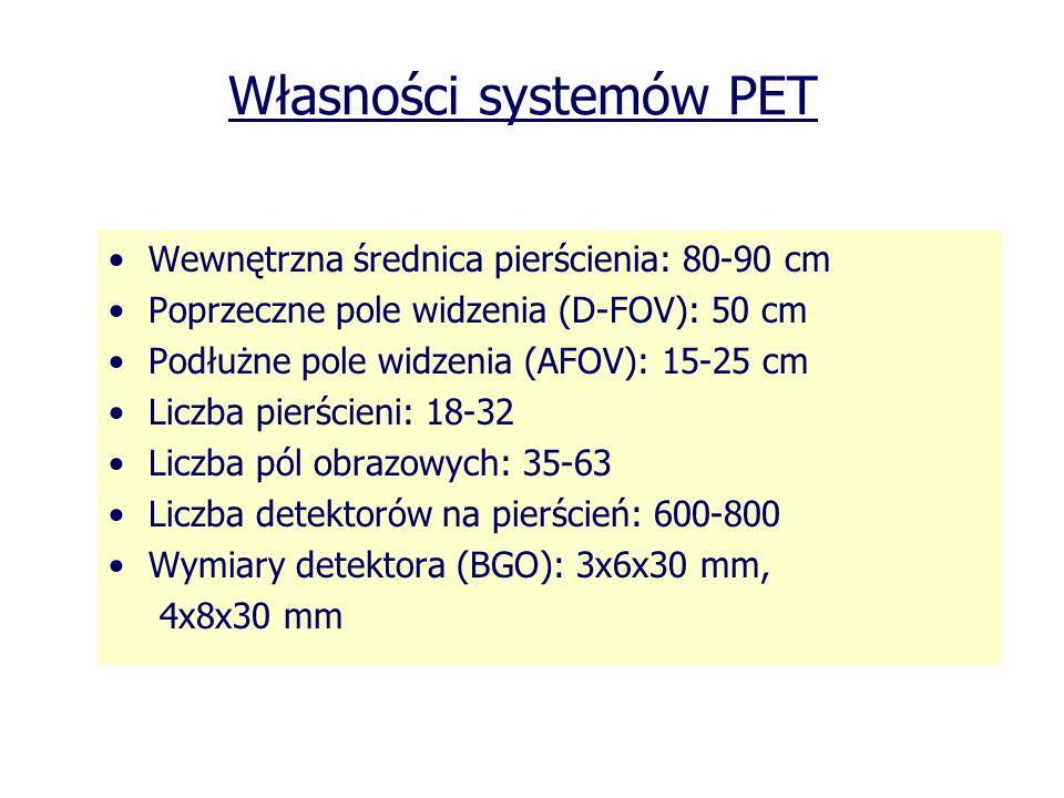 Własności systemów PET Wewnętrzna średnica pierścienia: 80-90 cm Poprzeczne pole widzenia (D-FOV): 50 cm Podłużne pole widzenia (AFOV): 15-25 cm Liczb
